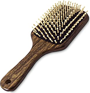 BeautyFrizz Wooden Hair Brush for all Hair Types - Wooden Hairbrush for Men and Women - Natural Detangler to Promote Growth, Add Shine