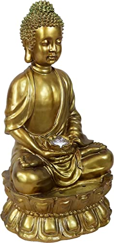 new arrival Sunnydaze Buddha Outdoor Water Fountain with LED Light, Patio and Garden outlet online sale Statue Feature, 2021 36-Inch Tall online sale