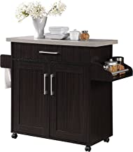 Hodedah Kitchen Island with Spice Rack, Towel Rack & Drawer, Chocolate with Grey Top