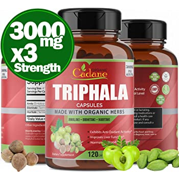 Organic India Triphala (3 Fruit Powders) 3000mg, 120 Veggie Capsules Supports Weight Loss and Improving Digestion, Detoxification, Cleansing Non-GMO Vegan Plus Digest Tone Herbs and Supplements
