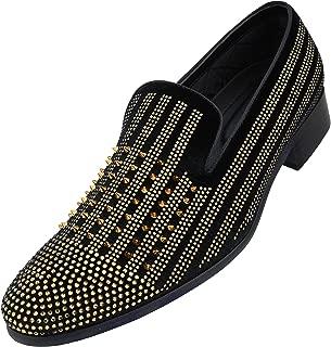 The Original Men's Vibrant Faux Velvet Smoking Slipper with Golden Spikes & Jewels Dress Shoe, Style Damian