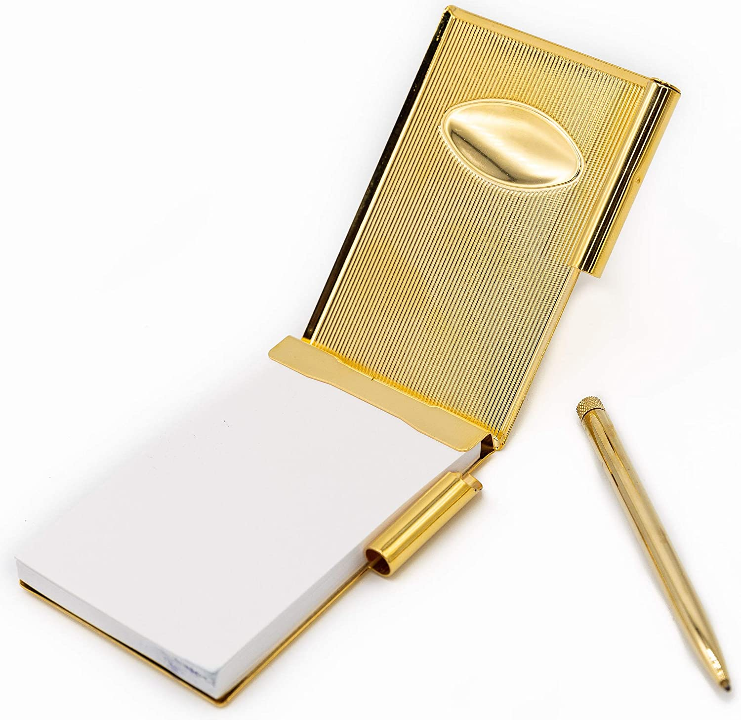 Compact Gold Metallic Vertical Scratch Pen With Memo Note Pad Over Shipping included item handling ☆