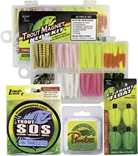 Trout Magnet Ultimate Bundle - 85-Piece Neon Grub Kit, 350-Yard Phantom Leader Spool, 4 E-Z Trout Floats, and Trout Magnet Secrets Revealed DVD 18095, Multi