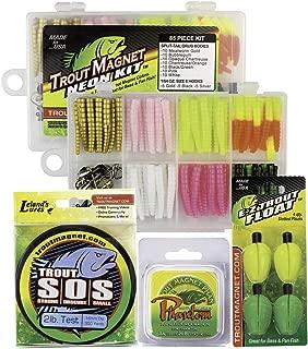 Trout Magnet Ultimate Bundle - 85 Piece Neon Grub Kit, 350 yd Trout S.O.S. Spool, 100% Fluorocarbon Phantom Leader Line, and 4 E-Z Trout Floats