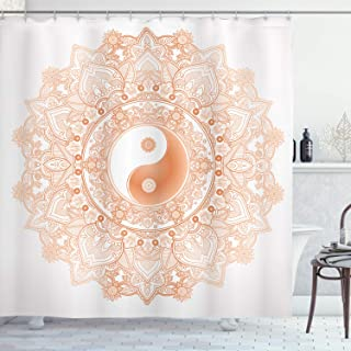 Ambesonne Ying Yang Decor Collection, Circle Yin Yang Mandala Symbol Unity and Peace in Opposites Retro Ethnic Boho Decor, Polyester Fabric Bathroom Shower Curtain, 84 Inches Extra Long, Salmon White