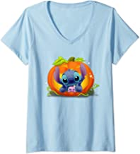 Womens Disney Halloween: Stitch and Boogoo Pumpkin  V-Neck T-Shirt