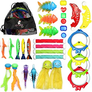 CHUCHIK Diving Toys 30 Pack, Swimming Pool Toys for Kids Includes 4 Diving Sticks, 4 Diving Rings, 6 Pirate Treasures, 3 T...