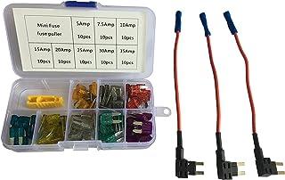 KOLACEN Automotive Auto Truck Mini Blade Typ Sicherung Assorted Kit 81 Stück + 3 Stück 16 Gauge Add a Schaltung Mini Fuse TAP Adapter