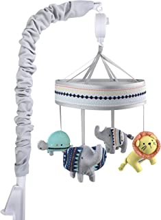 Wendy Bellissimo Baby Mobile Crib Mobile Musical Mobile - Elephant Mobile from The Sawyer Collection in Grey and Turquoise