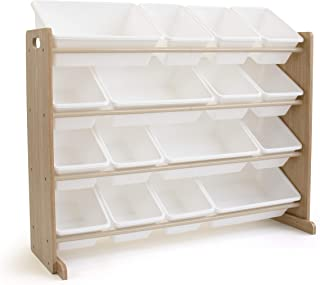 Tot Tutors Super-Sized Toy Storage Organizer w/ 16 Bin, Universal, Natural/White