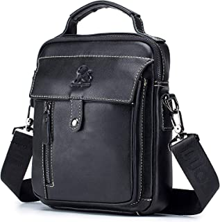 Men's Shoulder Bag, Popoti Handbag Crossbody Bag Leather Shopping School Backpack Messenger Carrying Bags Tote Wallet Small Pocktes 20cm (Black)