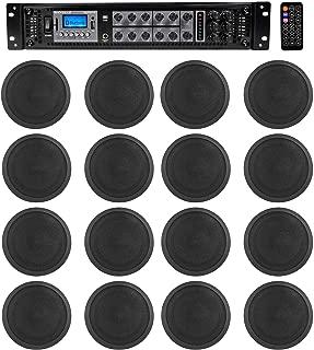 """Rockville 6-Zone Amp+16 Black 6"""" Ceiling Speakers for Restaurant/Bar/Cafe/Office"""