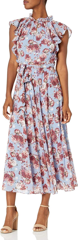 Tahari ASL Women's Ruched Ruffle Neck Flutter Sleeve Maxi Dress