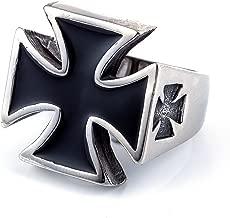 ZMY Men's Fashion Jewelry 316L Stainless Steel Rings for Men Black Cross Shape Design Ring