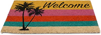 DII CAMZ10716 Indoor/Outdoor Natural Coir Easy Clean Rubber Back Entry Way Doormat for Patio, Front, Weather Exterior Doors, Welcome Palm Tree, 18x30