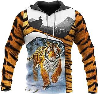 BAITE ONE Mighty Tiger Sudaderas con Capucha Impresas en 3D Moda para Hombre Sudadera Otoño Harajuku Chaqueta con Cremallera Informal, s
