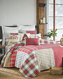 Soft Luxury Red Green Christmas Farmhouse Plaid Quilt Set King Size Holiday Bedding