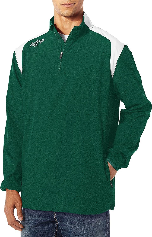Rawlings Mens Oakland Mall gift Adult Quarter Zip Long Jacket Sleeve