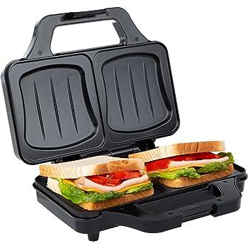 Ultratec Sandwichera, sandwichera eléctrica, tostadora sandwichera para tostadas XXL, placas antiadherentes, minitostadora con luz de control de temperatura, 900 vatios, negro-plata