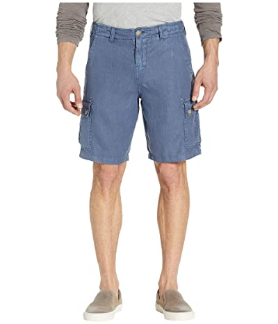 True Grit Textured Linen Cargo Shorts (Blue) Men
