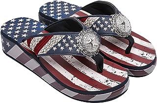 Montana West Wedge Flip Flops For Women Patriotic Western Concho Sandals