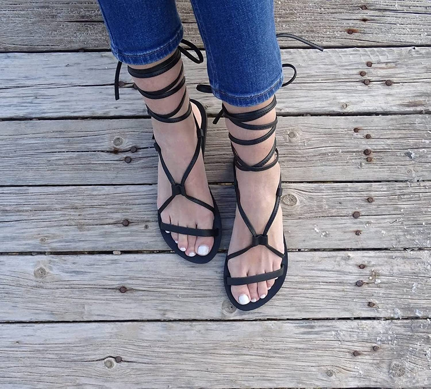 Black Leather Greek tie up Up Lace Sandals Over item handling Ranking integrated 1st place for sandals