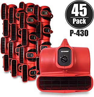 XPOWER P-430 1/3 HP Air Mover, Carpet Dryer, Floor Fan, Utility Blower - Red (45 Fans)