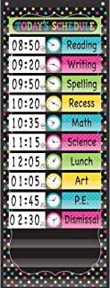 Teacher Created Resources TCR20752 Chalkboard Brights 14 Pocket Daily Schedule, Nylon/Vinyl, Black