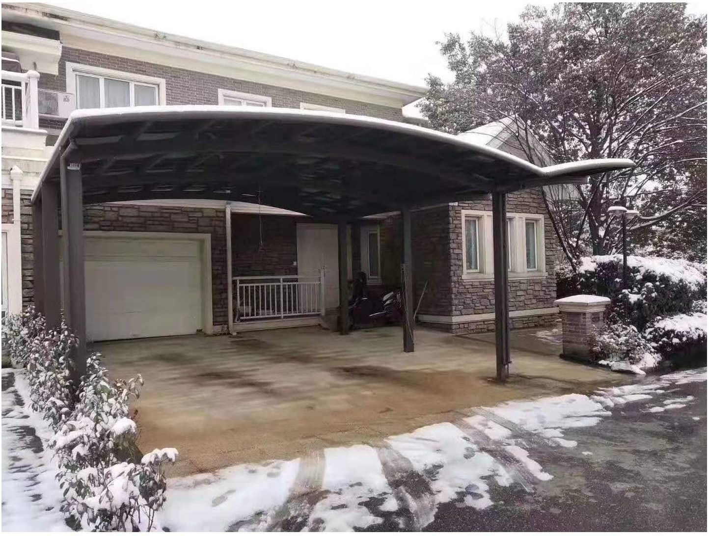 Amazon Com Litesort Two Car Carports Car Awnings Double Metal Carports Rv Roof 23 3 26 Feet Made By Aluminum And Polycarbonate Garden Outdoor