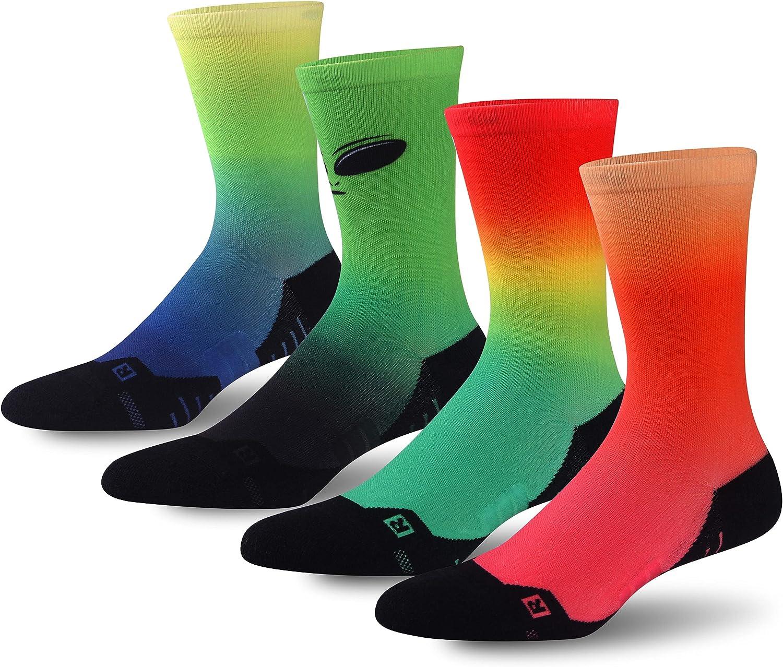 HUSO Unisex Funky Digital Printed Athletic Crew Hiking Cycling Socks 4 Pairs