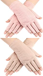 Maxdot 2 Pairs Sunblock Fingerless Gloves Non-slip UV Protection Driving Gloves Summer Outdoor Gloves for Women and Girls