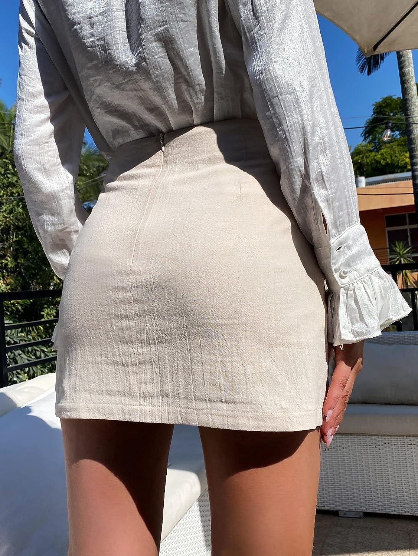 MakeMeChic Women's High Waist Wrap Zipper Back Tie Knot Asymmetrical Mini Skirt