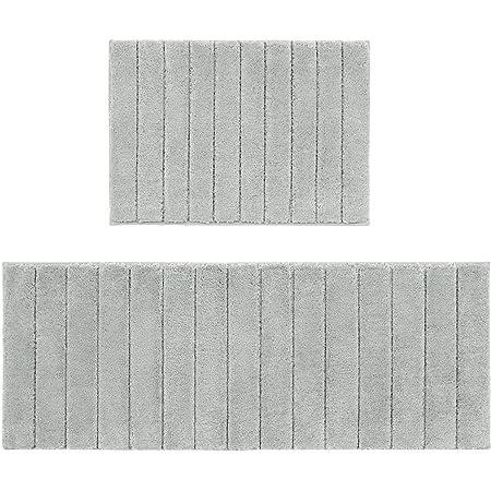 U'Artlines Lot de 2 Tapis de Bain Anti-Glissant Microfibre Absorbant Eau Super Comfort Tapis de Douche pour Salle de Bain(Gris,45x65+45x120cm)