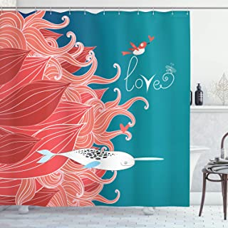 Ambesonne Narwhal Shower Curtain, Love Themed Sketch Illustration with Arctic Whale Bird and Floral Arrangement, Cloth Fabric Bathroom Decor Set with Hooks, 70