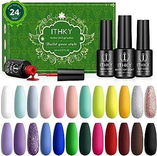 Gel Nail Polish Kit - ITHKY 27 Pcs Soak Off Nail Polish Set Pink Blue Green Yellow Nail Polish UV Led Gel Polish, Silver G...