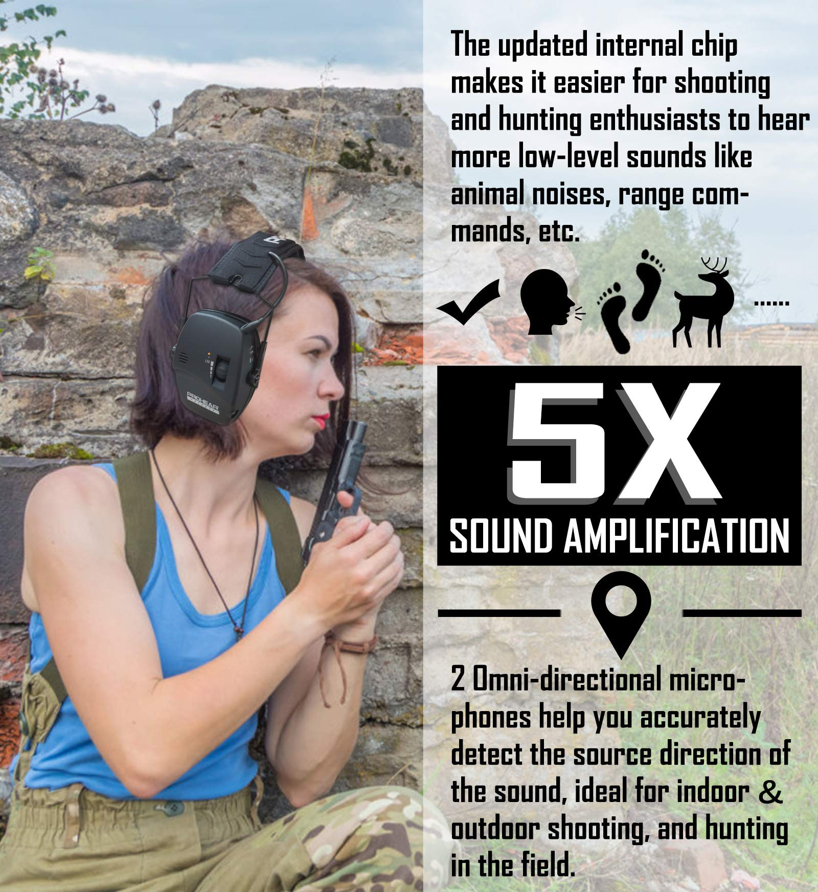 PROHEAR 036 Digital Electronic Shooting Ear Protection Muffs with GEP02 Gel Ear Pads, Hunting Sound Amplification Earmuffs, NRR 23dB Low Profile Hearing Protection for Gun Range - Black