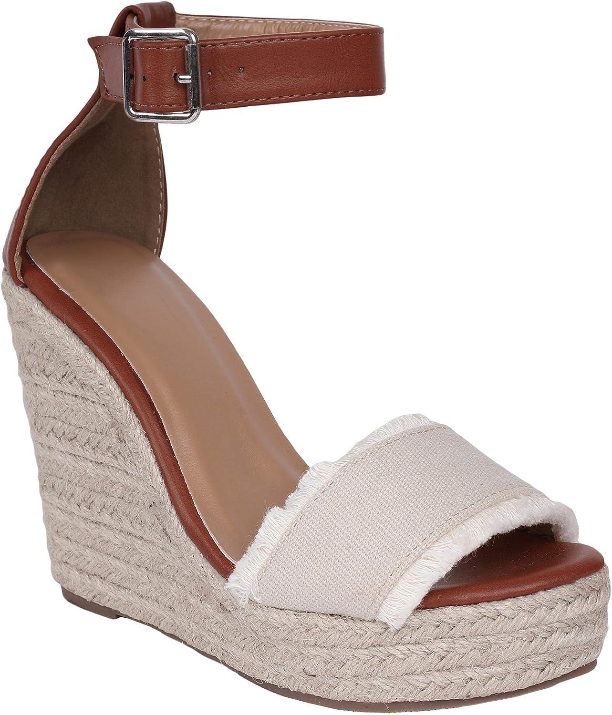 Syktkmx Womens color Block Ankle Strap Espadrille Platform Wedge Open Toe Heeled Sandals