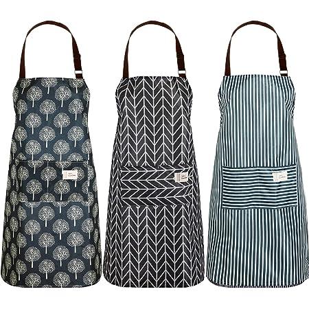 para Mujeres y Hombres N//A 3 Piezas Delantal de Cocina Ajustable en Algod/ón y Lino con Bolsillos