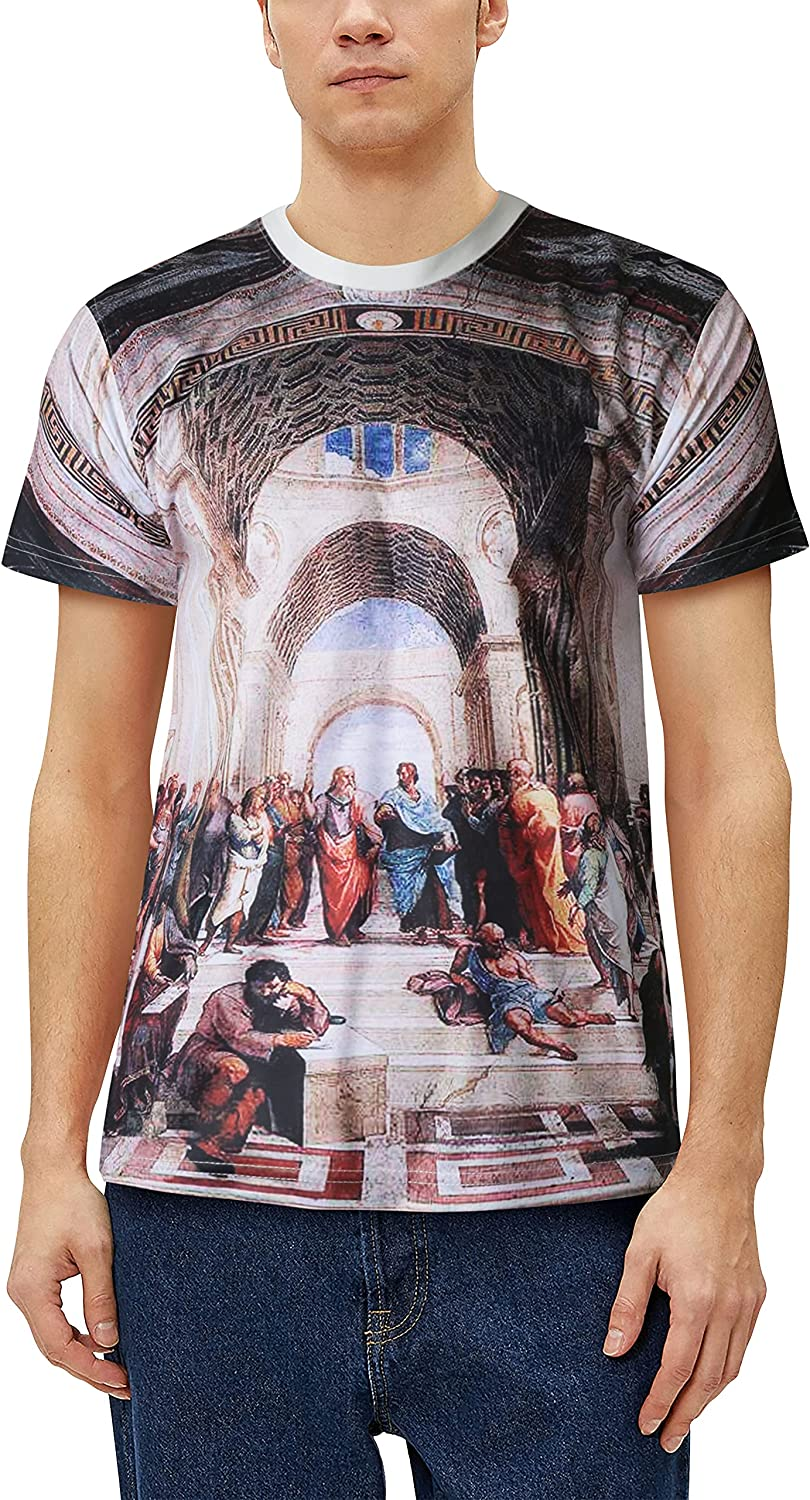 Mens Image Print Classic Art Luxury Super intense SALE goods Painting of Tee School The S Athens