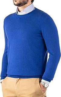 Cashmere Zone Maglione Uomo Girocollo 30% Pure Cashmere 70% Pura Lana Made in Italy Lana Pullover a Manica Lunga Soffice e...