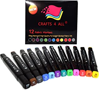 Fabric Markers Pens Permanent 12 Pack Dual Tip Minimal Bleed Rich Paint Color Pigment Fine Graffiti Fabric Pens by Crafts 4 ALL, Child Safe & Non Toxic