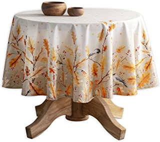 Maison d' Hermine Oak Leaves 100% Cotton Tablecloth 69 Inch Round. Perfect for Thanksgiving and Christmas