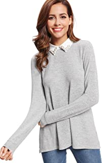 Romwe Women's Casual Contrast Beading Collar Long Sleeve Tunic Tops