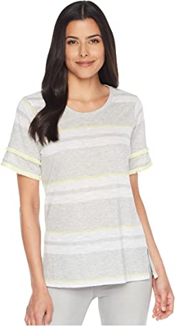 Tiered Fringe Short Sleeve Stadium Stripe Top