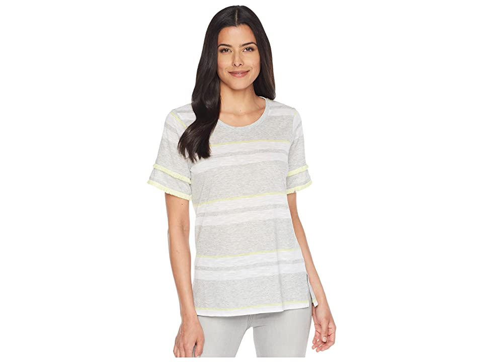 TWO by Vince Camuto Tiered Fringe Short Sleeve Stadium Stripe Top (Grey Heather) Women