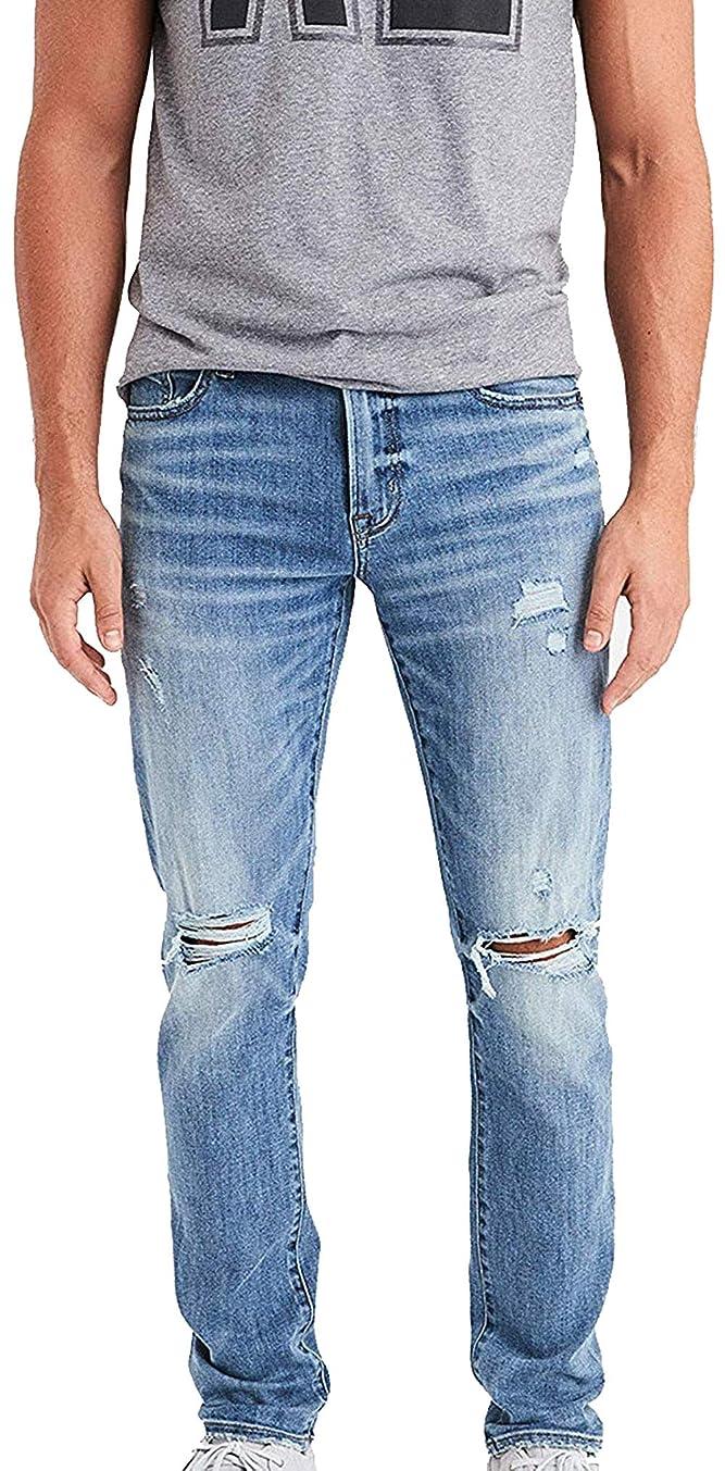 American Eagle Men's Ne(X) t Level Flex Slim Jean, Destroyed Light Wash