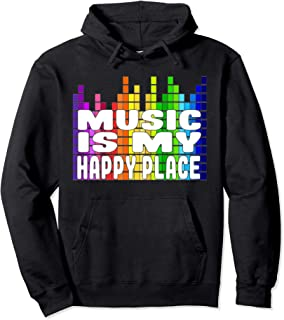 Music Is My Happy Place Hoodie Musical Quotes Gift