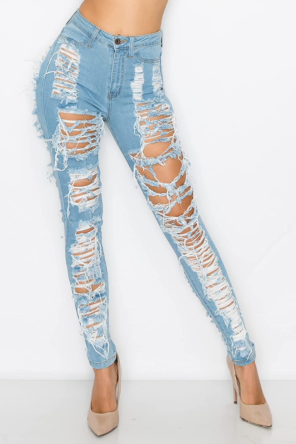 Aphrodite High Waisted Jeans for Women - High Rise Skinny Womens Hand Sanding Distressed Ripped Jeans with Cut Outs 40090/1 Light Blue 13
