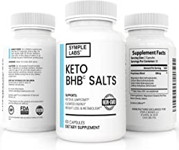 New SYMPLE LABS BHB Salt - Keto Diet Supplement to Boost Energy, Support Weight Loss + Jumpstart Ketosis, Non-GMO, 60 Capsules
