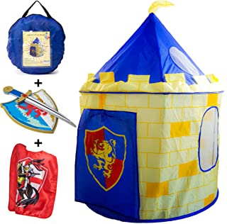 Nona Active Knight Castle Play Tent Set for Kids - Foldable with Easy Setup Plus Foam Sword and Shield, and a Red Cape
